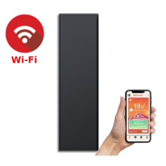 ICON 7 Wi-Fi – kolor Antracyt – 750W pionowy energooszczędny grzejnik elektryczny z wbudowanym modułem Wi-Fi