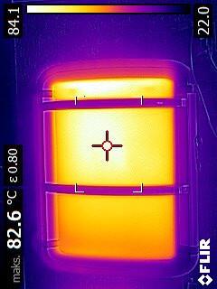 Panel na podczrwrień helisea - w termowizji