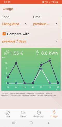 Miernik zużycia energii w aplikacji do Klima WI-FI
