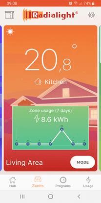 Strefy grzewcze 2 w aplikacji do Klima WI-FI