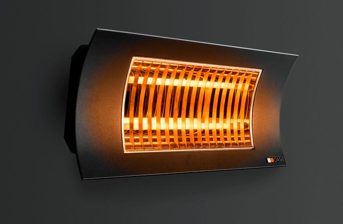 OASI - Czarny promiennik podczerwieni o mocy 1000/2000W żarnik z włókna węglowego