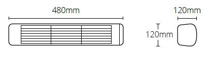 Promiennik podczerwieni HLW10 o wymiarach podanych na obrazku.
